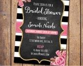 Bridal Shower Invitation, Glitter Gold Bridal Shower Invite, Bridal Brunch, Black stripes, Floral invite, Printable Shower, Glitter(JPD311)