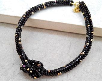 Black Knot Bracelet, Black and Gold Bracelet, Beaded Knot Bracelet, Black Speckled Gold Bracelet, Wish Bracelet