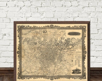 Sheffield map  - Old city map archival reproduction - Vintage map of Sheffield restored