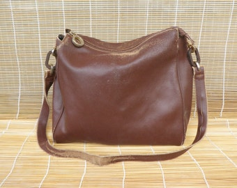 Vintage Very Distressed Brown Leather Hand Bag Zip Up Top Purse Coccinelle