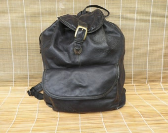 Vintage Black Leather Medium Size Drawstring Backpack