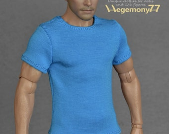 1/6th scale blue T-shirt for: male figures and dolls