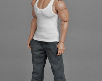 1/6th scale XXL white tank top vest for Phicen M34 and Hot Toys TTM 20 size bigger action figures and male fashion dolls