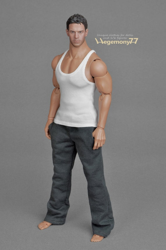 1/6th scale XXL white tank top vest for Hot Toys TTM 20 size bigger action figures and male fashion dolls