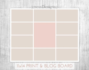 Photo Collage Template, 11x14 Storyboard for photographers and 900px for blog boards, 11 pictures