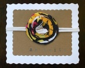 Flower Headband - Skinny Tshirt Headband - Repurposed Upcycled Tshirt Headband - Newborn Baby Infant Headband