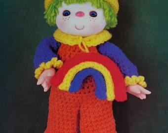 Instant Download PDF Vintage Eighties Rainbow Slush Doll Crochet Pattern