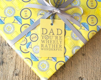 Dad You're Wheely Rather Wonderful Wrapping Paper - Yellow, Bikes, Cycling, Father's Day, Giftwrap, Gift Tags - free UK postage
