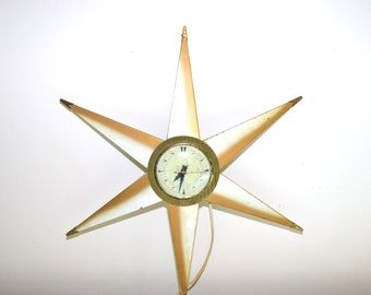 Mid Century Star Clock Starburst Clock Gold and White Clock Mid-Century Starburst Clock Atomic Clock