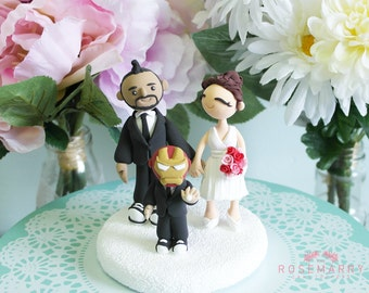 Custom Cake Topper- Couple with an ironman kid