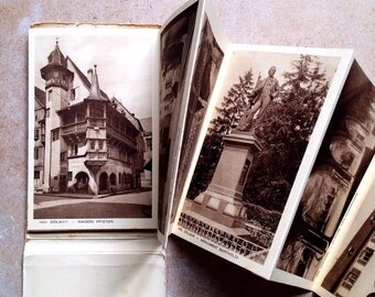 French Vintage Booklet of Postcards Town of Colmar. Edition de Grand Luxe Braun&Cie.Mulhouse-Dornach. Sepia Ink. High quality images.Unused.