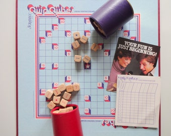 Vintage Scrabble Quip Qubes Board Game 1981