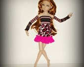 "Ellowyne Wilde Doll Clothes, Pink & Black Boho 3 Pc Set, Mix Print Fabric, Dress, Detached Sleeves, fits 16"" Doll"