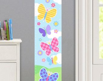 Girls Personalized Butterfly Garden Wall Decal Growth Chart, Cute Butterfly Wall Art, Girls Flower Wall Decor, Peel and Stick Growth Chart