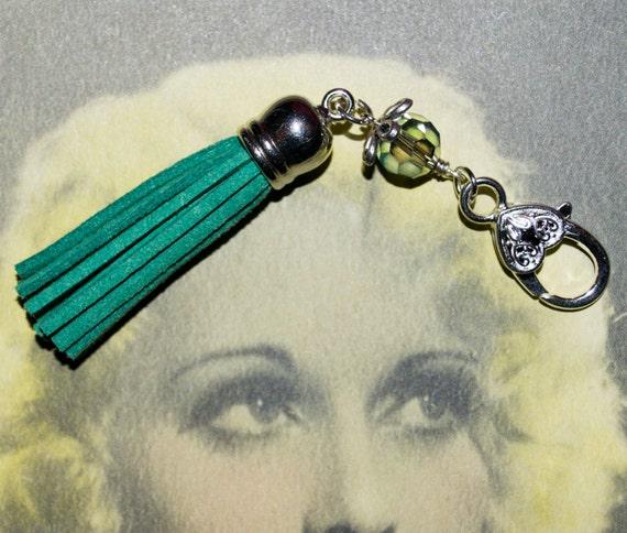 Boho Tassel Clip, Green Bag Charm, Tassel Key Charm, Boho Purse Charm, Teal Tassel Keyring, Zipper Pull, Green Purse Charm, Tassel Zip Pull