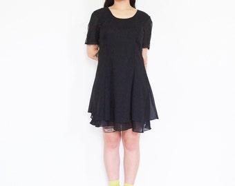 90s Black Sheer Shell Party Dress / Short Sleeve Baby Doll Mini Dress
