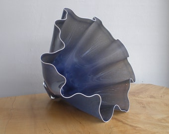 Hand Blown Glass Bowl - Opaque Dark Mottled Lavender Shell Bowl Form by Jonathan Winfisky