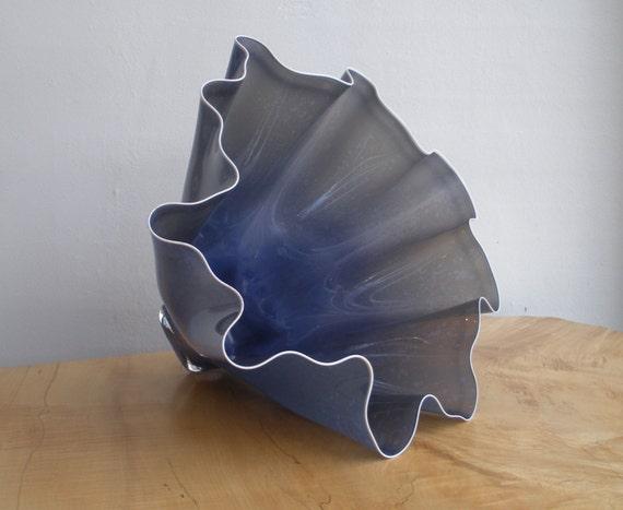 Hand Blown Glass Bowl - Opaque Dark Mottled Lavender Shell Bowl Form by Jonathan Winfisky