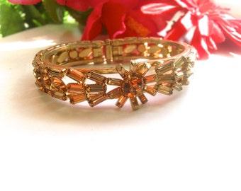 Art Deco Topaz Rhinestone Clamper Bracelet Retro Vintage Glamour Fashion Jewelry