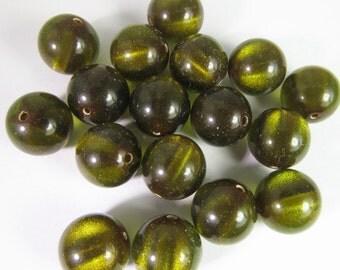 40 Vintage Lucite 10mm Olive Green Striped Shimmer Lucite Beads Bd1737