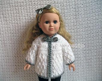 Crochet Pattern 125 Crochet Jacket Pattern for 18 inch Doll Crochet Patterns Diamond Doll Jacket for American Doll Christmas Gift for Girl