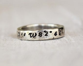 Latitude Longitude Coordinates Ring - Rustic Hammered Ring - Weathered Ring - 925 Sterling Silver - Hand Stamped