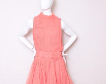 Vintage Orange Boho Fun Summer Cocktail Tea Party Sun Dress