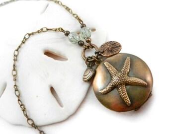 Starfish Locket, Beach Necklace, Seashell, Sand Dollar, Summer Memories
