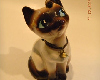 Vintage Siamese cat figurine, velvet brown collar with bell and little caterpillar friend..larger and lovely