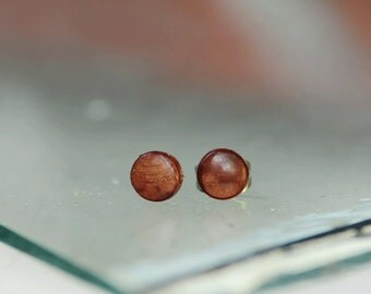 Madagascar Ebony wood stud earrings with surgical steel posts
