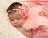 Coral Pink Newborn Angel Wings Coral Pink Baby Angel Wings Sweet Cherubic Grace Wings And Headband Set Newborn Photo Prop
