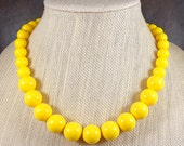 Statement Necklace, Yellow, Chunky Necklace, Yellow Bead Necklace, Big Bead Necklace, Bright, Bold Necklace, Round Bead Necklace