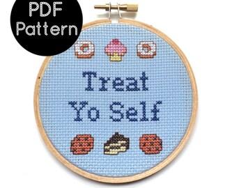PATTERN - Treat Yo Self - Parks & Recreation Quote - Funny Cross Stitch Pattern