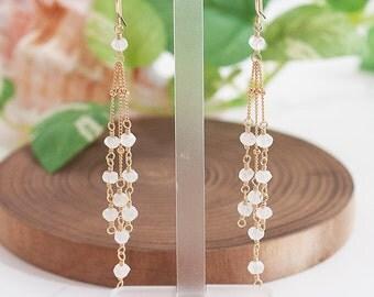 Moonstone earrings, White Stone Jewelry, moonstone Long earrings, Weddings, Bridal Jewelry, Long earrings, Bridesmaid Gift Set,