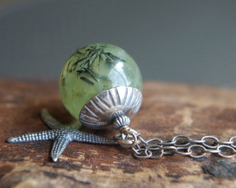 """Sterling Silver and Prehnite necklace - 24"""" length - Mossy Sea Star - Starfish necklace - Gift for nature lover"""