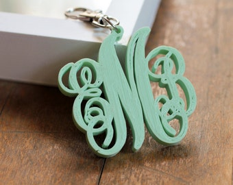 Customized Monogram 3d Printed Keychain