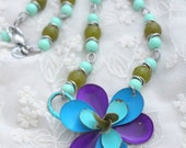 Blue Necklace, Flower Jewelry, Flower Necklace, Recycled Jewelry, Upcycled Necklace, Mod Jewelry, Upcycled Recycled, Recycled Repurposed