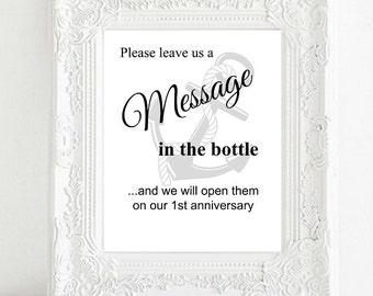 Instant Download Printable DIY Bridal Shower Wedding Sign, Message in a Bottle, Nautical Beach Anchor,Rustic Ocean Decor White Background