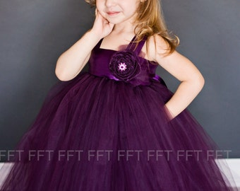 Plum Eggplant Flower Girl Tutu Dress