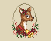 Christmas Ornament Cross Stitch Pattern Chart Shannon Wasilieff Deer Rudolph Cross Stitching Winter Holidays Craft Hobby Seasonal