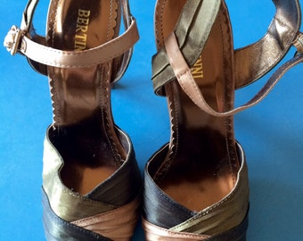 BERTINNI - Vintage Green Satin Hi-Heel Sandals - 7.5/38