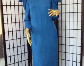 21% OFF Hanae Mori blue silk dress 70s