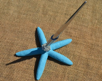 Beach Wedding Guest Book Pen - starfish guest book pen, aqua, teal, turquoise, malibu