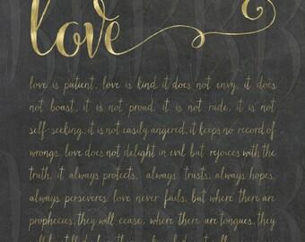1 Corinthians 13:4-8 Do Love Is Patient Love Is Kind Wedding Decoration Love Scripture vows decor faux foil love never ends love never fails