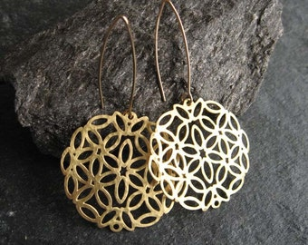 Long gold organic earrings , Large circle earrings , Gold lace earrings , Handmade by Adi Yesod