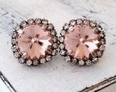 Blush earrings,Blush pink stud earrings,Oxidized silver,Swarovski crystal earrings,Blush bridesmaids earrings,Blush bridal earrings