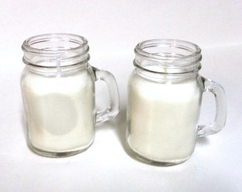 Mini Mason Jar Soy Candle with Handle & Lid - 4 oz - CHOICE OF SCENT