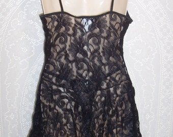 Size Medium - 2 Piece Chemise Nightie and Matching Thong -by Cinema Etoile -Shortie -Sheer -Black - Lace - New Old Stock - Original Tags