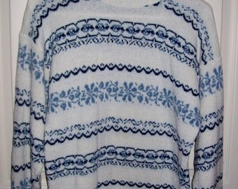 Vintage 1970s Ladies Blue & White Ski Sweater by American Pride Large Only 8 USD