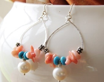 Beaded Hoop Earrings Peach Pink Coral Turquoise White Freshwater Pearl Sterling Silver Delicate Chandelier Dangle Handmade Jewelry